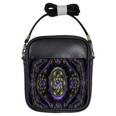 Fractal Sparkling Purple Abstract Girls Sling Bags