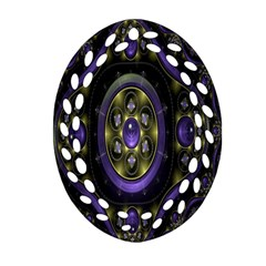 Fractal Sparkling Purple Abstract Oval Filigree Ornament (two Sides)