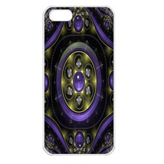 Fractal Sparkling Purple Abstract Apple iPhone 5 Seamless Case (White)
