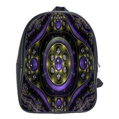 Fractal Sparkling Purple Abstract School Bags (XL)