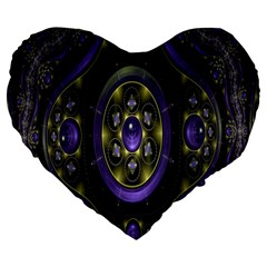 Fractal Sparkling Purple Abstract Large 19  Premium Heart Shape Cushions