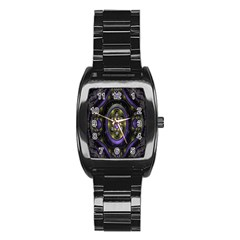 Fractal Sparkling Purple Abstract Stainless Steel Barrel Watch