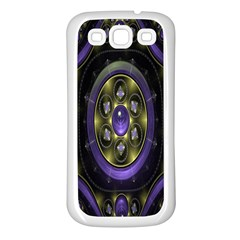 Fractal Sparkling Purple Abstract Samsung Galaxy S3 Back Case (White)
