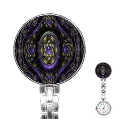 Fractal Sparkling Purple Abstract Stainless Steel Nurses Watch