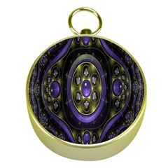 Fractal Sparkling Purple Abstract Gold Compasses