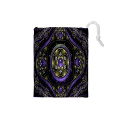 Fractal Sparkling Purple Abstract Drawstring Pouches (small)