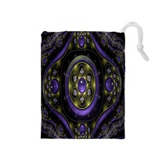 Fractal Sparkling Purple Abstract Drawstring Pouches (medium)