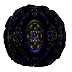 Fractal Sparkling Purple Abstract Large 18  Premium Flano Round Cushions
