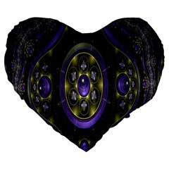 Fractal Sparkling Purple Abstract Large 19  Premium Flano Heart Shape Cushions
