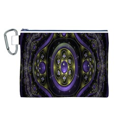Fractal Sparkling Purple Abstract Canvas Cosmetic Bag (l)