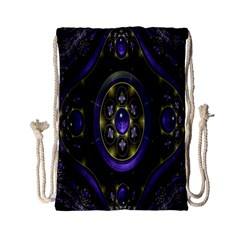 Fractal Sparkling Purple Abstract Drawstring Bag (small)