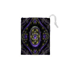 Fractal Sparkling Purple Abstract Drawstring Pouches (XS)