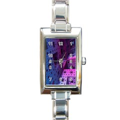 Fractals Geometry Graphic Rectangle Italian Charm Watch