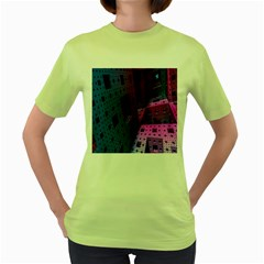 Fractals Geometry Graphic Women s Green T-Shirt