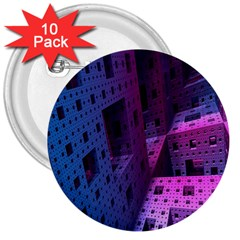 Fractals Geometry Graphic 3  Buttons (10 pack)