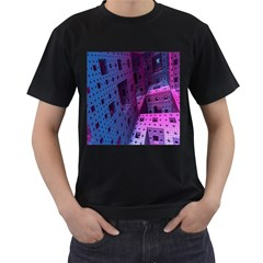 Fractals Geometry Graphic Men s T-Shirt (Black) (Two Sided)
