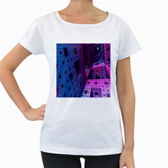 Fractals Geometry Graphic Women s Loose-Fit T-Shirt (White)