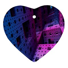 Fractals Geometry Graphic Heart Ornament (Two Sides)
