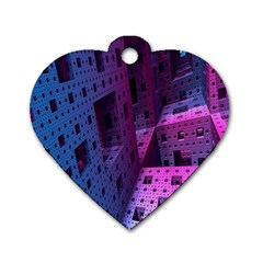 Fractals Geometry Graphic Dog Tag Heart (Two Sides)