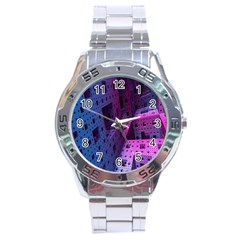 Fractals Geometry Graphic Stainless Steel Analogue Watch