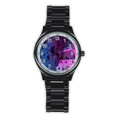 Fractals Geometry Graphic Stainless Steel Round Watch