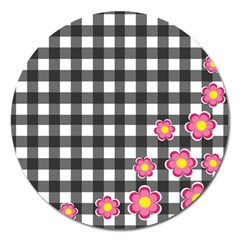 Floral plaid pattern Magnet 5  (Round)