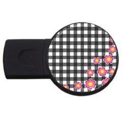 Floral plaid pattern USB Flash Drive Round (2 GB)