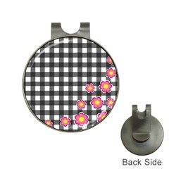 Floral plaid pattern Hat Clips with Golf Markers