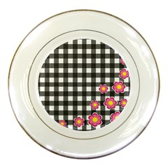 Floral plaid pattern Porcelain Plates
