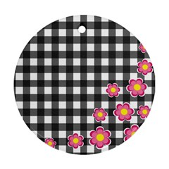 Floral plaid pattern Round Ornament (Two Sides)