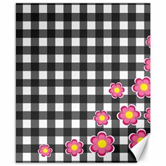 Floral plaid pattern Canvas 8  x 10