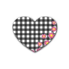 Floral plaid pattern Rubber Coaster (Heart)