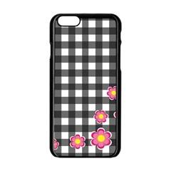 Floral Plaid Pattern Apple Iphone 6/6s Black Enamel Case