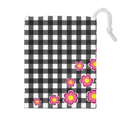 Floral plaid pattern Drawstring Pouches (Extra Large)