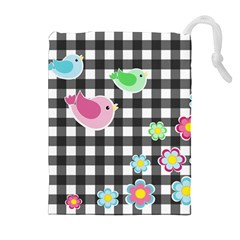 Cute spring pattern Drawstring Pouches (Extra Large)