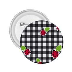Ladybugs plaid pattern 2.25  Buttons