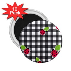 Ladybugs plaid pattern 2.25  Magnets (10 pack)