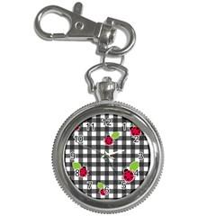 Ladybugs plaid pattern Key Chain Watches