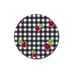 Ladybugs plaid pattern Rubber Coaster (Round)