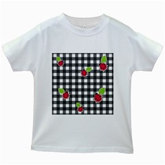 Ladybugs plaid pattern Kids White T-Shirts