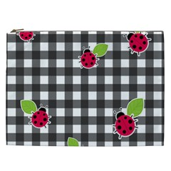 Ladybugs Plaid Pattern Cosmetic Bag (xxl)