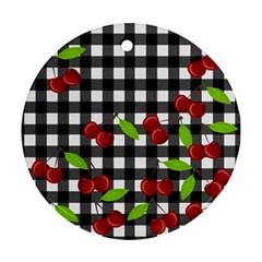 Cherries plaid pattern  Ornament (Round)