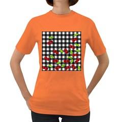 Cherries plaid pattern  Women s Dark T-Shirt