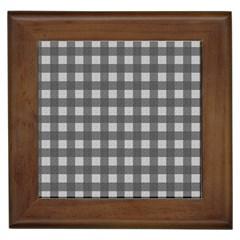 Gray plaid pattern Framed Tiles
