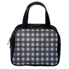 Gray plaid pattern Classic Handbags (One Side)