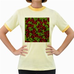 Cherry jammy pattern Women s Fitted Ringer T-Shirts