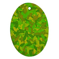 Green autumn Oval Ornament (Two Sides)