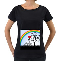 Love Hill - rainbow Women s Loose-Fit T-Shirt (Black)