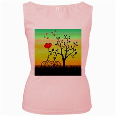 Love sunrise Women s Pink Tank Top