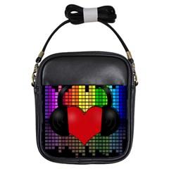 Love Music Girls Sling Bags